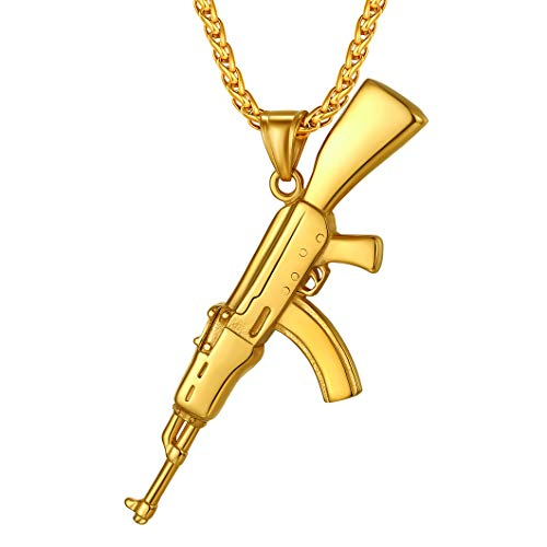 Richsteel Gold AK-47 Gun Necklace for Men Army Military Jewelry Stainless Steel Pendant with Chain 22 Inches