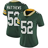 Packers de Rugby féminin Jersey Football Jersey 52# Matthews T-Shirt Sports de Plein air T-Shirt à Manches Courtes de Formation Sport Top Polo (Color : Green, Taille : X-Large)