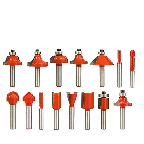X-BAOFU, 12/15 piezas 1/4 pulgadas (6,35 mm) 8 mm vástago fresa madera juego con 6 cojinetes de madera fresa Carbide Set (tamaño: 15 piezas)