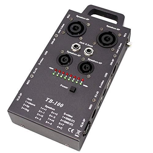 Cablematic - Comprobador cable RCA speakon jack DIN USB RJ45 MIDI XLR3