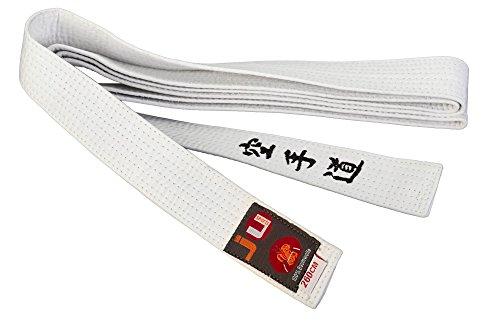 Budogürtel weiß mit Bestickung Karate (japanisches Kanji)