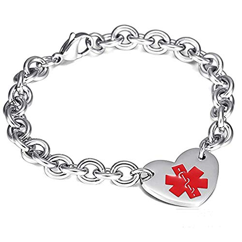 NJ Customized Medical Alert Bracelet for Women - Stainless Steel Fiji Adjustable Chain Name ICE Custom Medic ID Bracelet Health Alert Link Bracelets Jewelry for Woman Girls,Free Engraving
