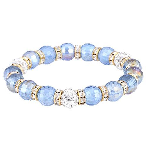 Morella Damen Armband mit facettierten Glasperlen und Zirkonia Beads elastisch hellblau Gold