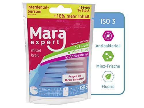 MARA EXPERT - Premium Interdentalbürste ISO 3 - 0,6mm - Premium Bürste für Zahnzwischenraum, mit Fluorid, Chlorhexidin und Minze