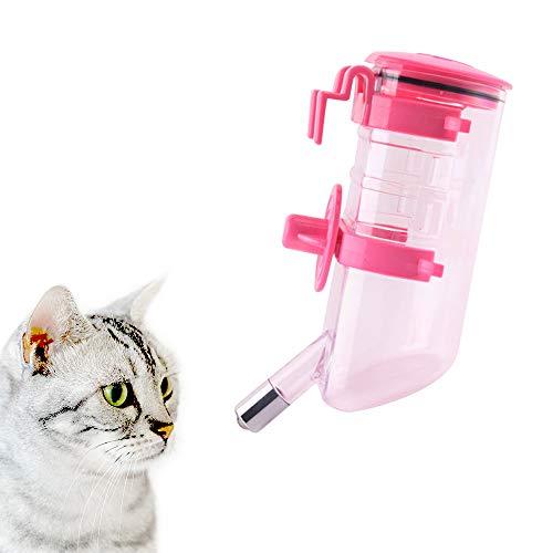 Andiker Wasserflasche zum Aufhängen, 600 ml, automatischer Wasserspender, tropffreie Wasserflasche für kleine und mittelgroße Hunde, Katzen (Rosa)