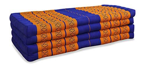 livasia Klappmatratze extrabreit (195cm x 110cm) aus Kapok, Faltbare Gästematratze, klappbare Matratze, asiatische Faltmatratze (blau/gelb)