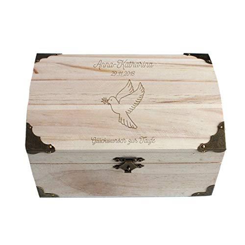 Geschenke.de Personalisierbare Schatztruhe mit Gravur Taube, Taufgeschenk für Mädchen und Junge, Spardose und Geschenkbox als Geldgeschenk Verpackung klein
