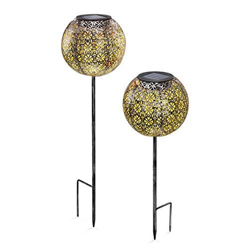 Solar Gartenstecker 2er-Set Luana in Kugelform - angenehm warmweißes Licht mit 2800K - zauberhaftes Lichtspiel am Boden - Leuchtkugel ca. 14,5 cm - Solarleuchten Gartendeko Solarkugel, esotec 102373