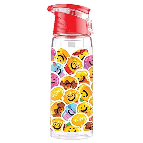 Botella de Agua con contenedor de Frutas Una Botella Deportiva para Bebidas con un asa Cierre Fuerte Comiendo no Contiene BPA Emoji [110]