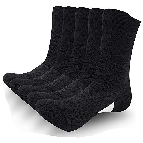 SUNWIND Unisex 5 Pairs Elite Sportsocken Atmungsaktive Basketball Laufensocken Komfortable Kompressions Socken für sportliche Männer und Frauen (Schwarz, 39-44)