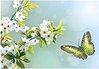 DIY5Dダイヤモンド刺繍蝶がフローのラインストーンピクチャーニードルワークに恋をするフルキューブダイヤモンドペインティング家の装飾40 * 30