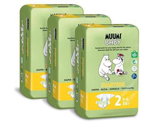 Muumi Baby nouveau-né couches bio taille 2, 3-6kg, lot de 174 couches taille 2, couches sensitive premium pack mensuel