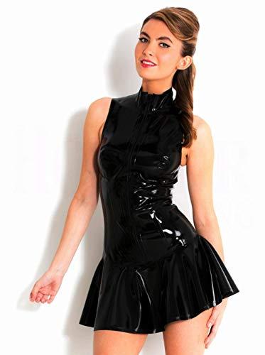 lenceria de cuero sexyFalda de PVC sexy Cuello alto Vestido de PVC negro Vestido de rendimiento escénico-B_L