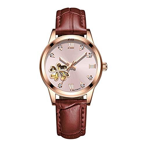 TREWQ Reloj mecánico de Pulsera para Mujer automático con Correa de Piel Impermeable Luminoso Relojes de Pulsera,Brown Pink