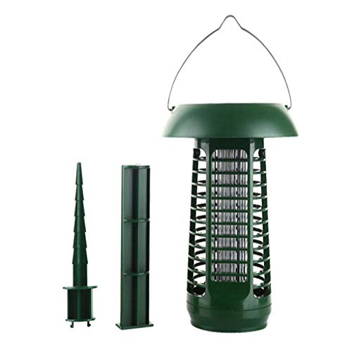Naiflowers Solar Mosquito Bug Killer Zapper Solar Powered LED Light Insect Killing Lamp Outdoor Ground Backyard Patio Camping Garden Lawn Cordless Solar Pest Light Best Stinger Mosquitoes Moth Fly