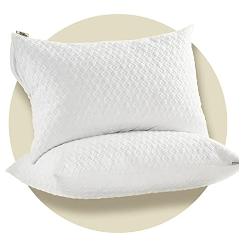 CoolShields Silky Waterproof Pillow Protectors with Zipper, [Use Premium Fabrics ONLY] Noiseless Hypoallergenic Pillowcase for a Better Sleep, Standard Size, Set of 2,[Oeko-Tex Certified]