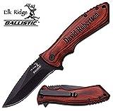 Free Engraving - Quality Elk Ridge Pakkawood Handle Folding Knife