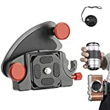 Jooheli Clip para cinturón de cámara y tapa de objetivo, clip de liberación rápida de aleación de aluminio, para cámaras réflex Canon, Nikon, Sony