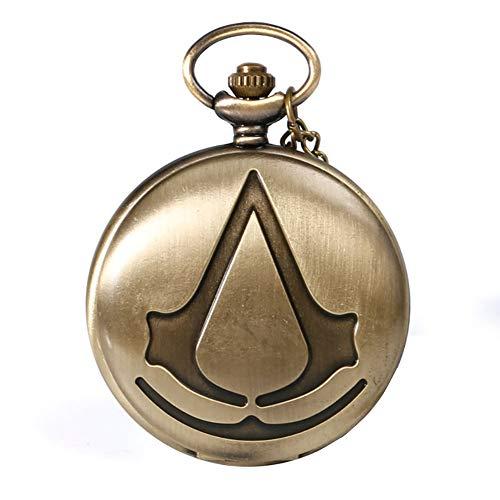 Steampunk de Assassin Creed Film de Science-Fiction Bronze Analogique Quartz Montre De Poche Collier Pendentif Hommes Femmes Montres Cadeau De Chaîne