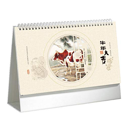Chinesische 2021 Tageskalender 2021 Kalender Witzige für das Mondjahr des Ochsen,29x8x21.5cm,Chinesisches Malkuhbild Kalender Witzige für Das Jahr Des Ochsen 2021 Tradition Chinese Wall Paper Calenda