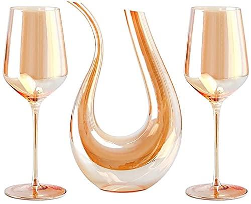 QZMX Decantador Decantador de vinos 750 ml y 2 Gafas de Cristal Establecido - Vidrio de Cristal sin Plomo, Vino Rojo y Blanco, para Cualquier ocasión, Gran Regalo, Decantador de Vino de Cristal