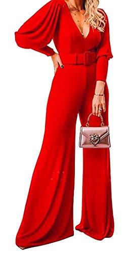 SOWTKSL Women Deep V-Neck Jumpsuit High Waist Solid Flare Bell Bottoms Romper Red L