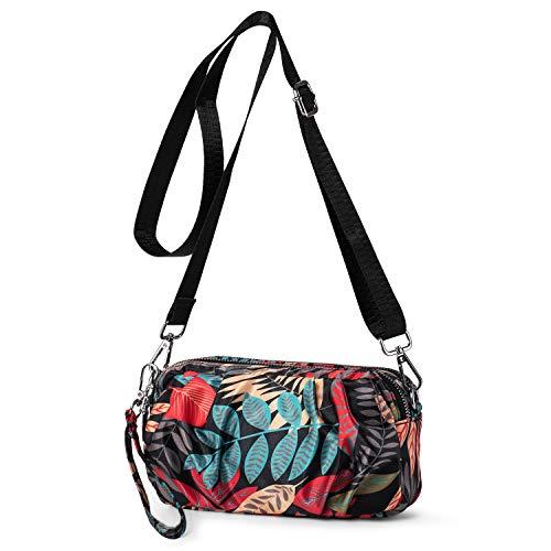 LaRechor Kleine Bunt Umhängetasche Handtasche Citytasche für Damen Clutch zum Umhängen, 2 Fächer, Schulterriemen und Handschlaufe