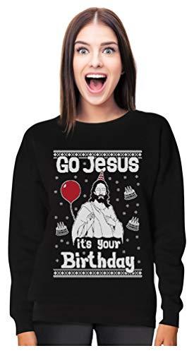 Tstars Go Jesus It's Your Birthday Ugly Christmas Sweater Women Sweatshirt X-Large...