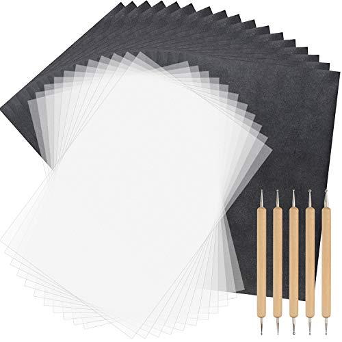 TUPARKA 150 Blatt Kohlepapier und Pauspapier mit 5 Stücken Prägestiften Stylus-Werkzeuge, schwarzes Transparentpapier zum Aufzeichnen auf Holz, Zubehör für Stoff-Tattoo-Schablonenkopien