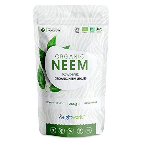 BIO Neem Pulver - Reines Azadirachta Indica Neembaum Pulver - 200g Vegan Niembaum Powder Extrakt - 100% Natürlich, Laborgeprüft & Bio Qualität - Ayurveda Neem Leaf Nahrungsergänzung für Veganer