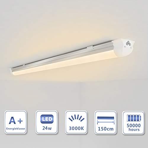 OUBO LED Leuchtstoffröhre komplett 150cm T8 Tube Röhrenlampe Leuchtstofflampe Warmweiß 24W 2300lm milchige Abdeckung