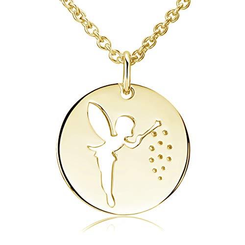 MATERIA Gold Anhänger Damen rund Fee Elfe 925 Silber vergoldet mit Gold-Kette 42+5cm mit Etui KA-6