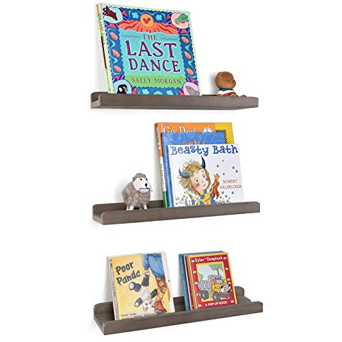 Emfogo Wood Picture Ledge Shelf Rustic Floating Wall Shelves Set of 3 for Storage and Display 16.9 inch Weathered Grey