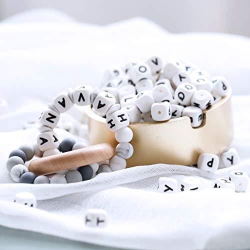 Mamimami Home 100pc Lettre d'alphabet Qualité alimentaire Perles de mastic de silicone Pour Collier de dentition Dans 26 Des lettres Perles en lettres de silicone