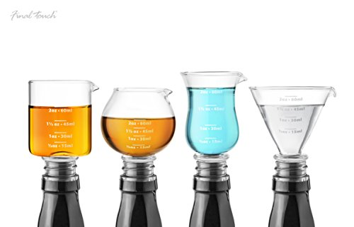 Final Touch Set van 4 glazen jigger stoppen voor cocktail – Measure verwijderen en gieten – bevat Martini, Hurricaan, zwenker en whiskey