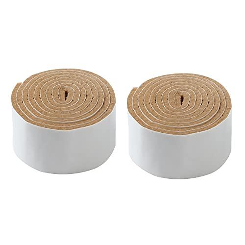 Oukerde Fieltro Adhesivo,Almohadillas de Fieltro,Cinta Protector Fieltro Adhesivo Corte Libre en Cualquier Forma,Fieltro Muebles Suelo 2 Rollos (3 * 100cm/4 * 100cm/5 * 100cm/6 * 100cm),Marrón Claro.