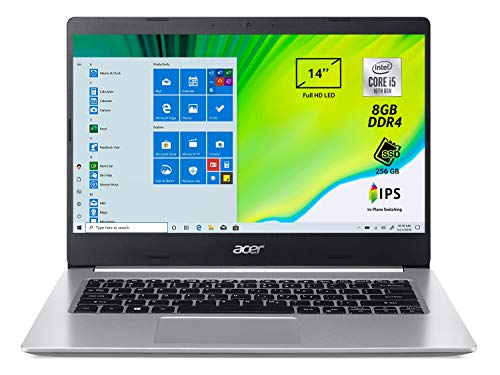 Acer Aspire 5 A514-53-53PB Pc Portatile, Notebook con Processore Intel Core i5-1035G1, Ram 8 GB DDR4, 256 GB PCIe NVMe SSD, Display 14  FHD IPS LED LCD, Intel UHD, Windows 10 Home, Silver