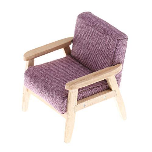 Yiifunglong Dollhouse 1/12 Color sólido casa de muñecas en miniatura solo sofá muebles para el hogar modelo de regalo de juguete - púrpura