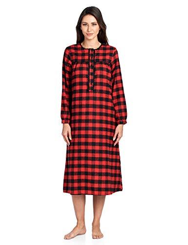 Ashford & Brooks Women's Flannel Plaid Long Sleeve Nightgown, Red Buffalo Check, 3XL