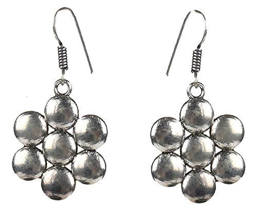 Sansar India Silver Oxidized Flower Elegant Indian Drop Earrings Jewelry for Girls & Women