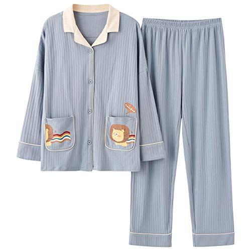 LEYUANA Ropa de casa de Las señoras de la Solapa, Conjunto de Pijama Casual Suelto de la Rebeca Grande XXXL NSN5001