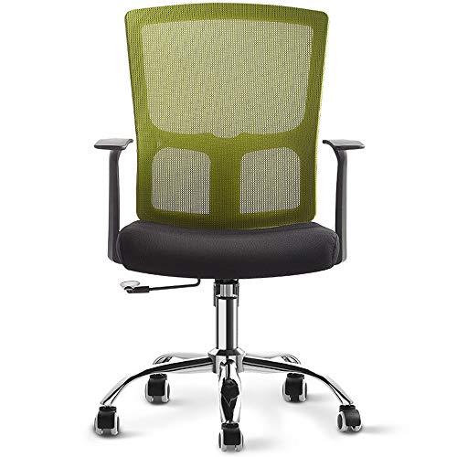 MUMUMI Sedie for Ufficio a Domicilio Traspirante in Rete, sedie for Computer semplici rotanti ergonomiche, Schienale Comodo con sedie gestionali braccioli (Color : Verde)