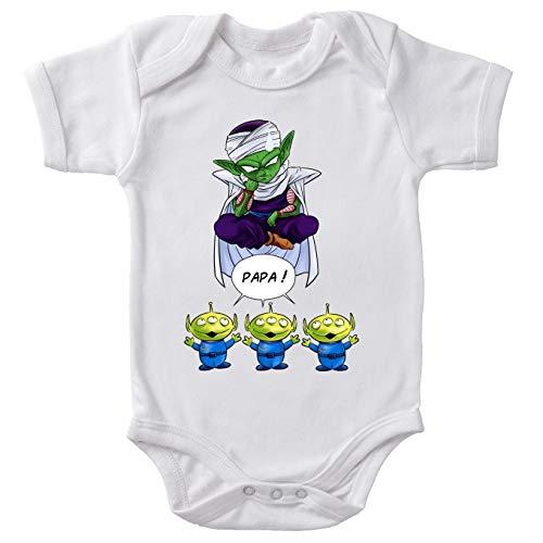 Body bébé manches courtes Blanc parodie Dragon Ball Z - Toy Story - Piccolo aka Satan Petit Coeur et les Aliens - Papa !!(Body bébé de qualité supérieure de taille 6 mois - imprimé en France)