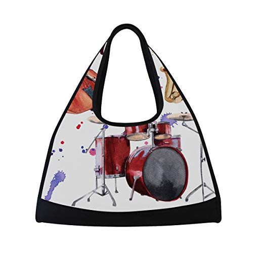 KIMDFACE Sporttasche,Jazz Instruments Saxophon Schlagzeug Kontrabass,Neue Druck Verschiedene Muster Sport reisetaschen sporttaschen Kurze Reise Rucksack umhängetaschen