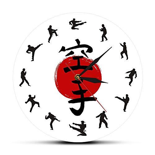 HFWYF 12 Pulgadas (30 cm) patrón Personalizable Taekwondo Karate impresión Reloj de Pared Silueta de Karate silencioso Barrido núcleo Reloj de Pared Redondo