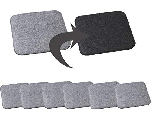 Bada Bing 6er Set Filz Stuhlkissen Sitzkissen ECKIG Ca. 35 x 35 cm Anthrazit Hellgrau Meliert Stuhlauflage Zum Wenden Wendekissen Quadratisch Für Stühle Bänke 26
