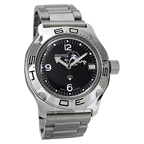Vostok Amphibia 100634 - Reloj de buceo ruso para hombre (200 m, correa de acero inoxidable)