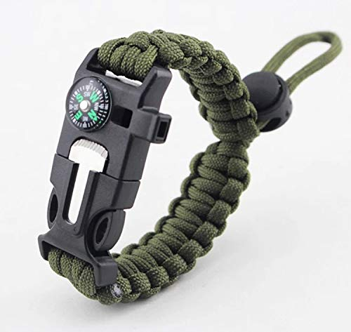Emergency Paracord Bracelets 2019 The Ultimate Tactical Survival Gear| Flint Fire Starter, Whistle, Compass & Scraper | Best Wilderness Survival-Kit for Camping/Fishing & More (Green)