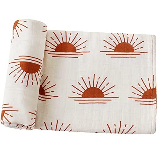 LifeTree Manta Muselina, Manta Verano Bebé 120x120 cm, Súper Suave Mantas Envolventes de Muselina Recien Nacido, 70% Bambú & 30% Algodón, Sol Diseño