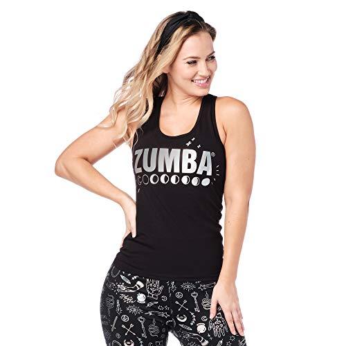 Zumba Black Graphic Print Fitness Dance Workout Racerback Tank Tops para mujer - negro - Large